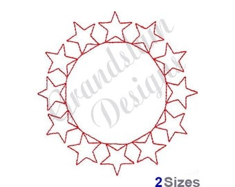 Circle Of Stars Redwork - Machine Embroidery Design