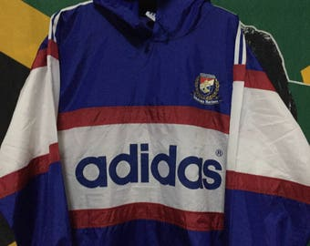 RARE!!! Vintage 90s Adidas Windbreaker Raincoat Spell Out Big Logo Athentic Apparel Swag Hip Hop Blue White Color//