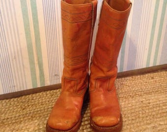 70s tall leather boots women's US 8