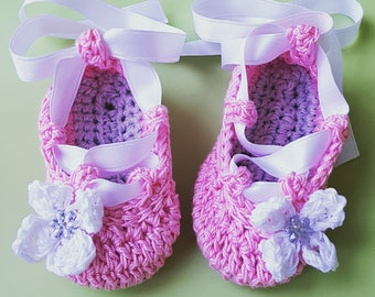 Cotton crochet Ballet flats with satin ribbons