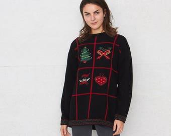 Vintage Black Round Neck Knit Christmas Pullover Jumper Sweater