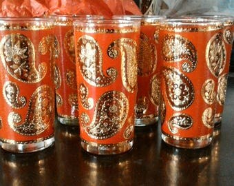 Red and Gold Paisley  Culver Glassware
