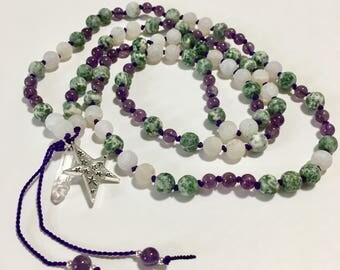 GODDESS OF NATURE mala, mala, Mala necklace, 108 beads, hand knotted, meditation beads, Mala beads