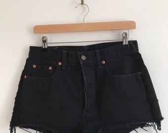 Vintage Levi's Denim Shorts with Fringe Detail
