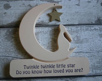 Hare and Moon, Twinkle Twinkle little star Hare and Moon, How long will I love you Hare, Personalised Hare and moon, Moon gazing Hare