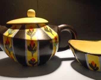 Teapot and Sugar Bowl Set French Fait Main | Black/Yellow | Ceramic Teapot | Sugar Pot | Retro Kitchen | Tableware | Gift Ideas | Vintage