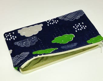 Rain Clouds Novelty Zipper Pouch - makeup bag; pencil case; gift for her; cosmetic bag; carry all; gadget case;