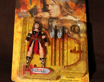 XENA Toy Doll Xena 1996 Warrior Princess Lucy Lawless in Package with Weapons Hercules Vintage 1990s Playset