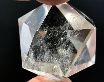 Quartz Shape - Icosahedron ~ d20 ~ MEDIUM ~ Polished Clear Quartz Crystal Shape ~ Sacred Geometry ~ Platonic Solids ~ 68g
