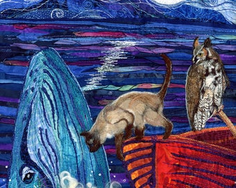 Owl and Pussycat Met a Whale, Mixed Textile Art Quilt