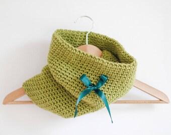 Pea Green Tubular Infinity Scarf Double Layered Handmade Crochet Cowl