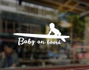 Baby on board surfboard in car Vinyl Stickers Funny Decals Bumper Car Auto Computer Laptop Wall Window Glass Skateboard Snowboard Helmet