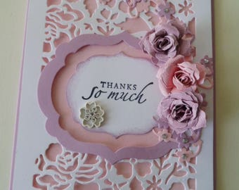 Custom card Special Occasion, handmade greeting card, Paper Roses Embellishments, Any Occasion, All Occasion card, Customized sentiment