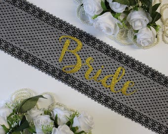 Bride To Be Sash Bachelorette Lace Sash Wedding Sash,  Bride Sash, Bachelorette Lace Sash, Custom Bridal Sash, Bride gift, Personalized Sash