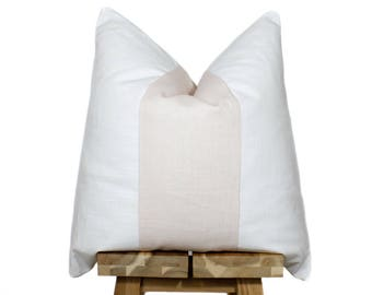Linen Pillow Cover | Blush & Off White
