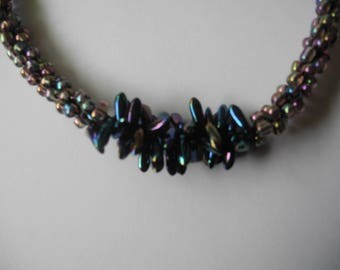 Handmade unique Kumihimo necklace in multic gunmetal colours