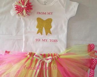 Hot Pink and Lime Green Tutu, Cake Smash Outfit, Birthday Tutu,Princess Tutu, Tutu Set, Multicolor Tutu