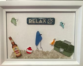 Sea Glass Picture Art - Going Fishing