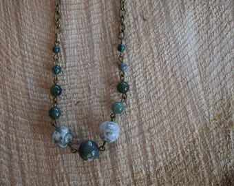 April frost. Fancy jasper necklace. Nature inspired jewelry.