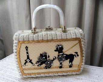 Fabulous Fifties Parisian Poodle White Wicker Handbag Label: Princess Charming...by ATLAS / Hollywood- FLA Vintage 50's 1950's