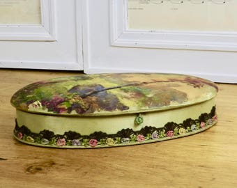 Delightful Vintage French Lady's Boudoir Box / Glove Box Hand Painted Silk