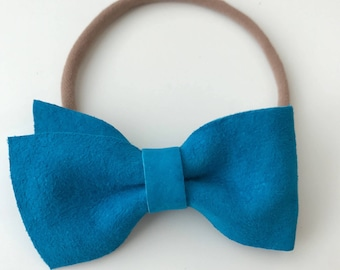 Double Angled Suede Bow