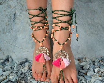 ON SALE 25%off Barefoot Sandals, Barefoot Beach Jewelry, gypsy shoes, Hippie Sandals boho, Foot Jewelry, tassel barefoot sandals  ,Gypsy San
