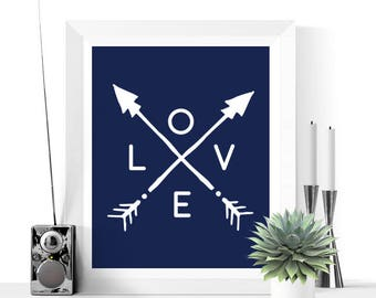Arrows Art Printable | Navy and White | Home & Living | Wall Art Printable | Boho Art | Instant Download