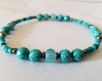 Anklets for Women Beach Anklets Boho Stretch Faceted Turquoise Stones Sea Glass Anklets Summer Anklets Ankle Bracelet Beaded Blue Green