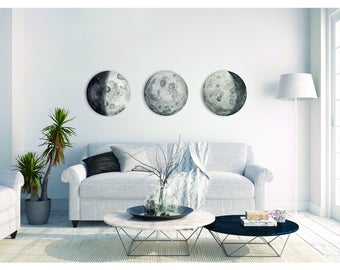 Watercolour Moon Phases Canvas Painting