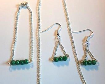 Dark green Teardrop bead set