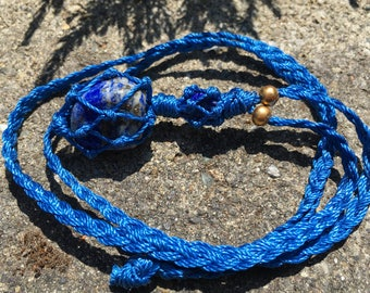Beautiful Blue Lapis Lazuli And Brass Macrame Necklace