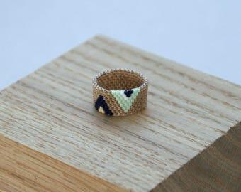 Giselle beaded ring (blue & mint)