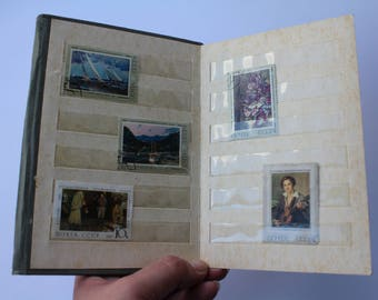 Soviet Postage Stamp Collecting Album,Vintage Stamp Book, Small Stamp Collection Holder, Philately Book, Stamp display, Stamp album