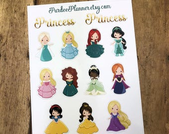Princess. Planner Stickers, Erin Condren, Recollections, Happy Planner, Cute Stickers, ECLP, Fun, Princess.