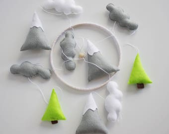 Baby mobile mountains Nursery mobile Baby mobile neutral Baby Crib mobile Baby nursery mobile Cloud mobile Nature nursery