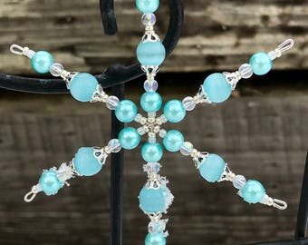 Little Blue Beaded Snowflake