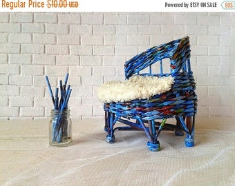 SUMMER SALE Doll toy sofa couch, lounge. Blue color for ooak and other. From recycled paper.