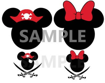 Pirate Mickey Ears-Iron On Heat Transfer-DIY shirt-Vinyl Decal-Vacation Shirt-Yo Ho Yo ho Pirates Life