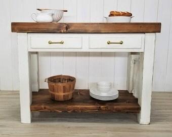 Kitchen Island, Thick Wood Butcher Block Top, Rustic Modern Farmhouse Table, Pantry Shelf, Drawers, Towel Bar, Chalk Paint