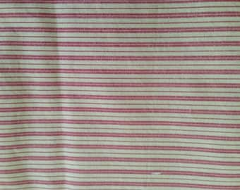 Striped red and white calico. 2 8/9 yards, 44 inches wide