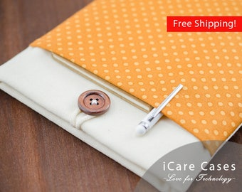 11 inch MacBook Air Case Brown Canvas White Polka Dot Modern Padded Mac Air Case 11