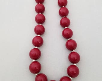 Maroon bubblegum bead necklace, toddler necklace