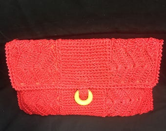"Vintage ""Natalia"" Red Macrame Clutch Bag"