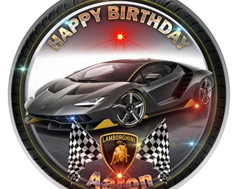 Black Lamborghini Personalised Edible Icing. Birthday Cake Topper Decoration 7.5""