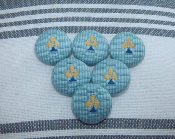 SET OF 6 COTTON BUTTONS HAS STRIPES OF COLOR TURQUOISE AND BLUE