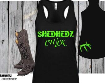Shedhedz Chick Tank Top,Next Level Racerback Tank, Ladies Outdoor Tank Top, Antler, Outdoor, Camping, Shed hunter