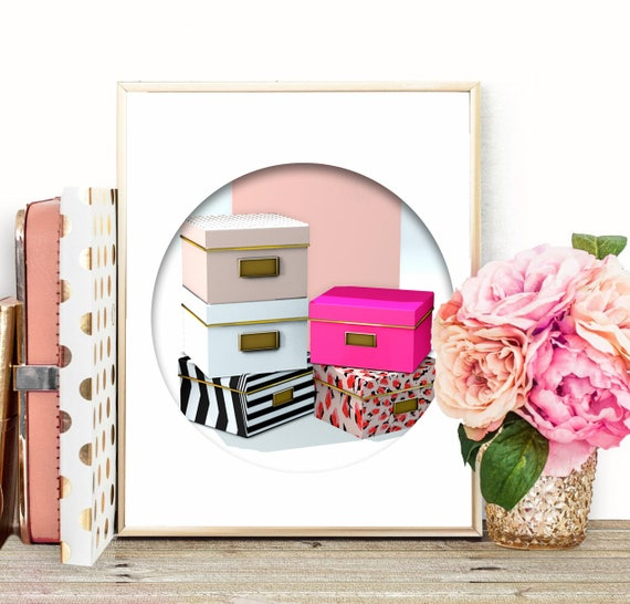 Chic Wall Art Kate Spade Storage Boxes Pink Office Decor Printable ...