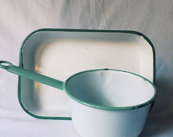 Vintage enamel pot and pan set