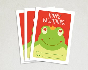 Personalized Valentines Card - School valentines - Cute valentines - Kids valentine cards - Valentine card sets - Hoppy Valentines - Frog